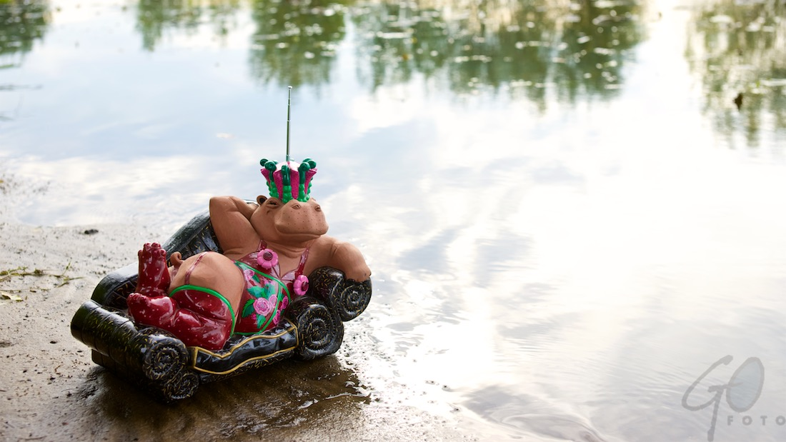 Een nijlpaard in bikini. Foto van een kunstzinnig radiotoestel. Verleiden is een kunst.