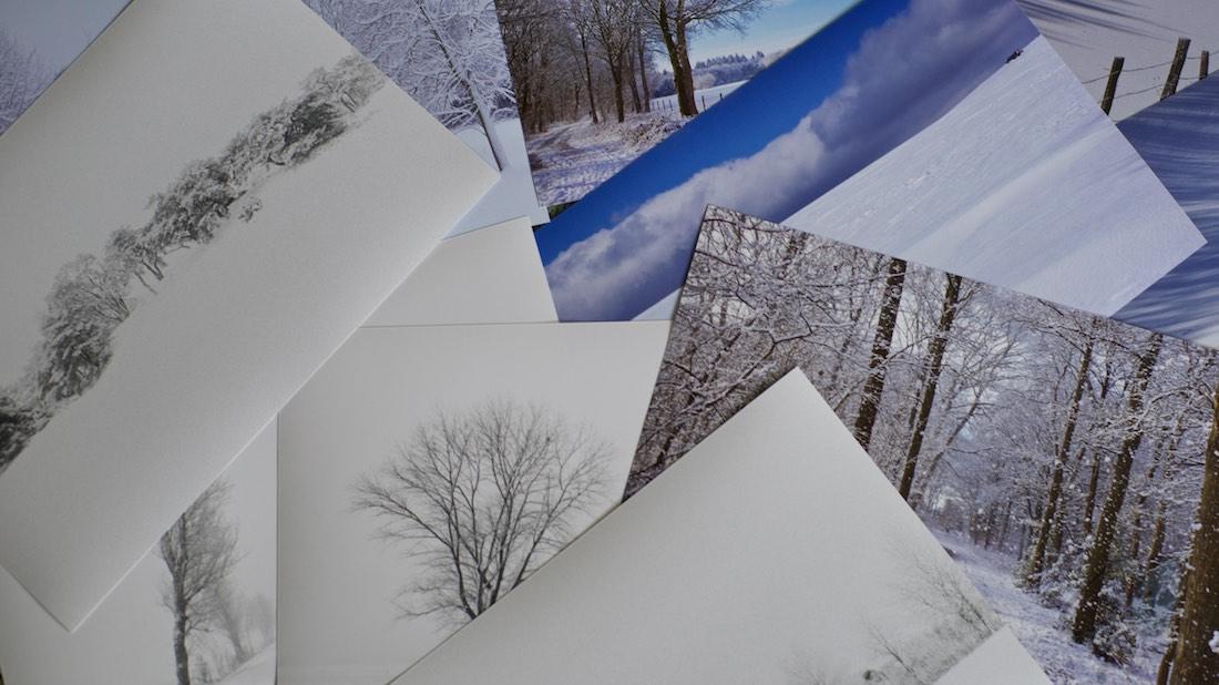 Winters wit. Foto van foto's met een sneeuwlandschap.