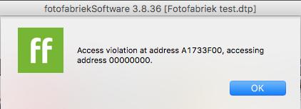 Foutmelding Fotofabriek software